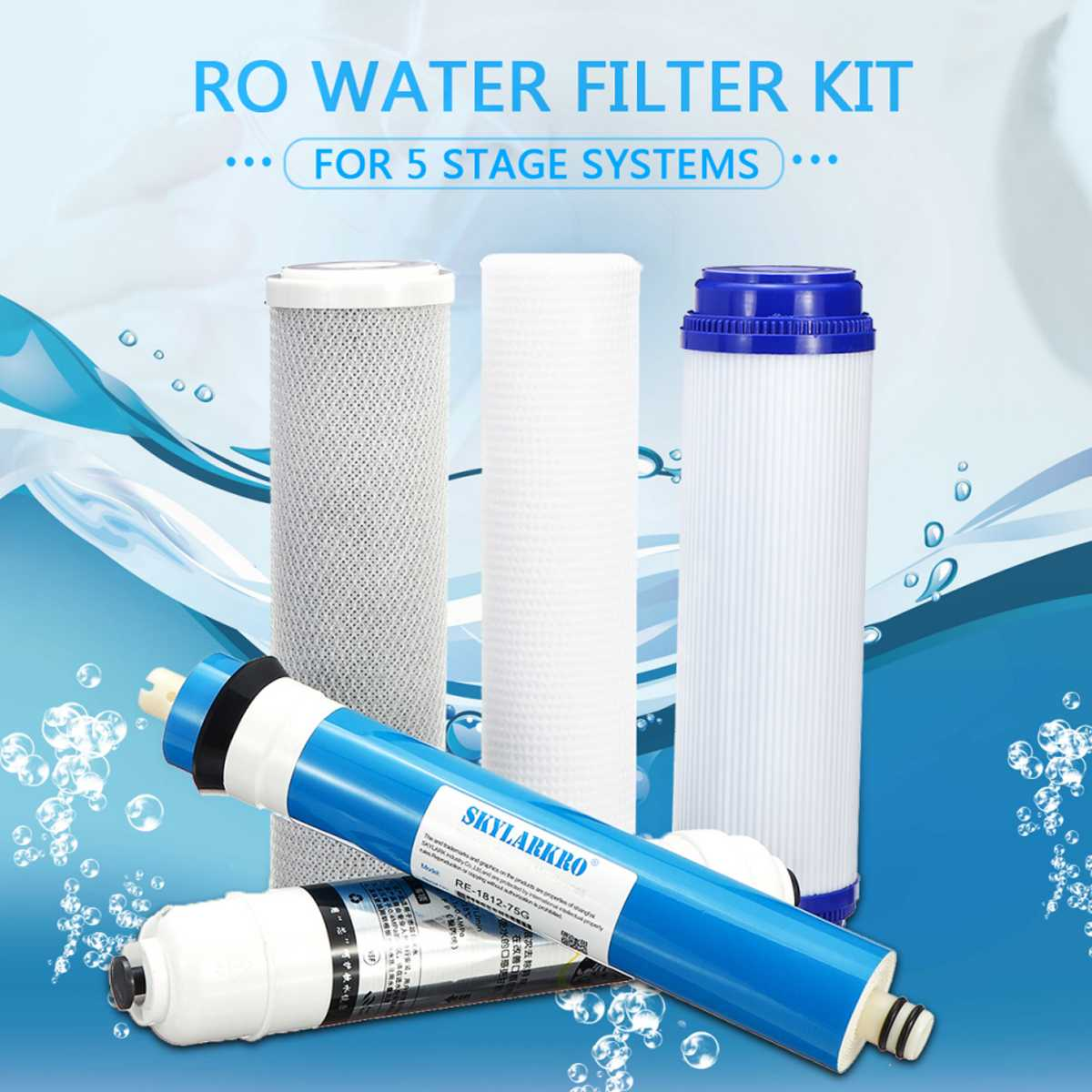 5 Stage Reverse Osmosis Water Filter Cartridge Water Filter Kit Water Purifier With 75 GPD Membrane RO Replacement Household