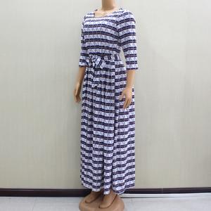 Image 4 - 2020 ファッションデザイン新着アフリカ Dashiki スリムでエレガントなカジュアルブルーレディースロングパーティーファッション女性ドレス