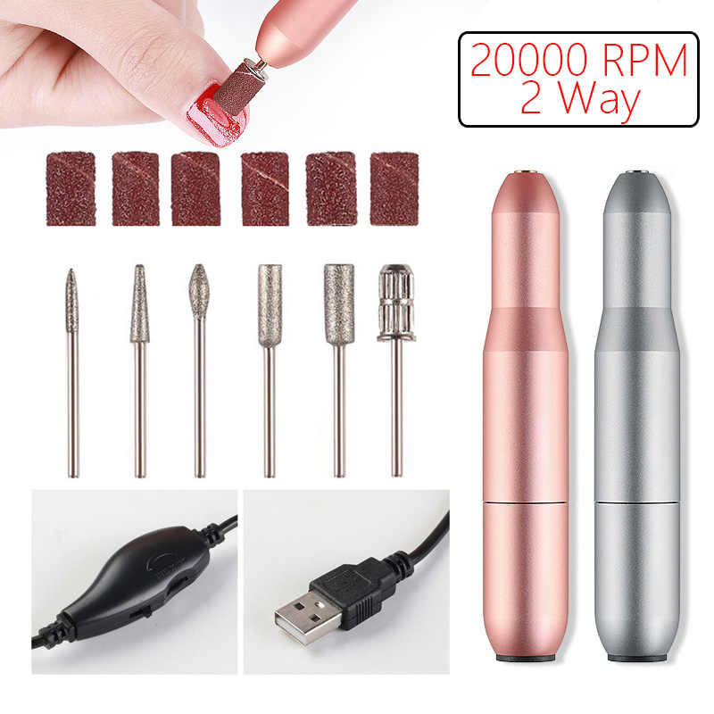 2 Way Memutar Electric Kuku Bor Mesin 20000 RPM USB Portable Alat untuk Manikur Pedikur Kuku Bor Kit Paku Seni alat
