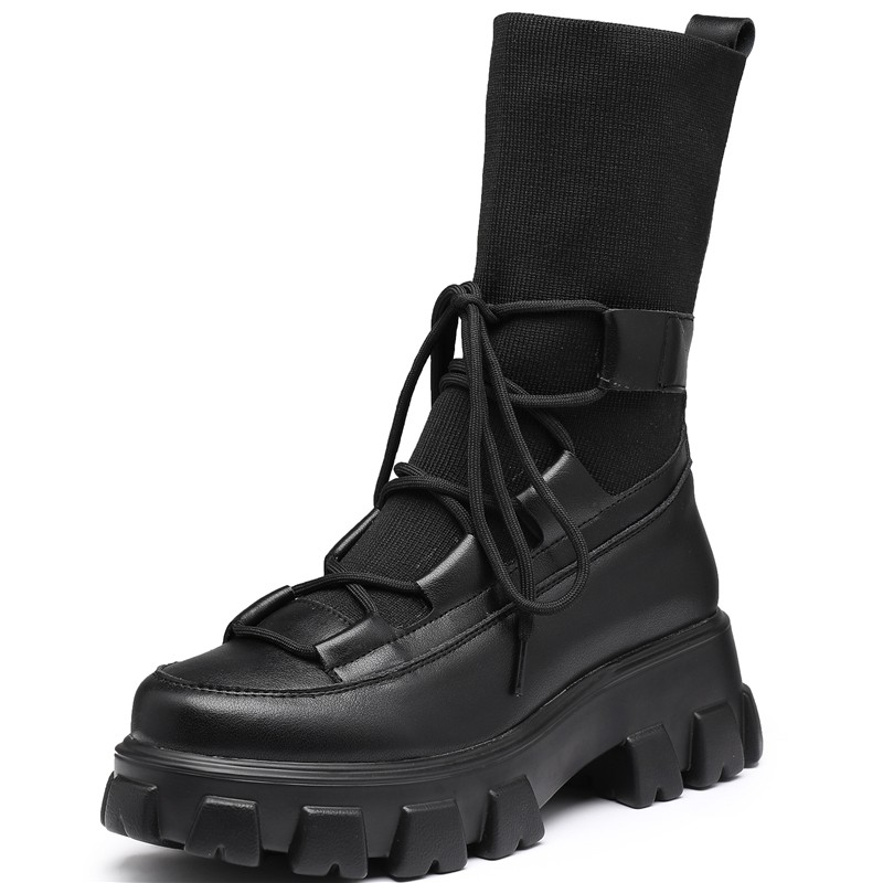 ADBOOV Genuine Leather Sock Boots Boots Women Big Size 43 44 Fashion Platform Long Boots Fall Winter Shoes Ladies Black