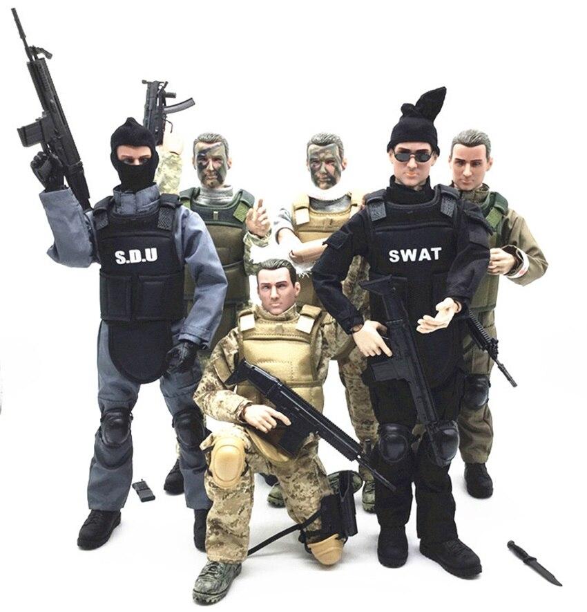 1/6 forças figura modelo militar exército combate swat polícia soldado acu figura de ação brinquedos ou presente