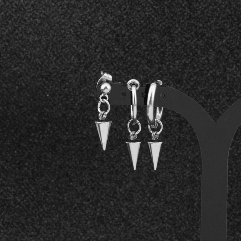 Korean Men Fashion Punk Earrings Stainless Steel Ear Clip Cone Pendant Punk Hipster Rock Round Circle Unisex Stud Earring Gift