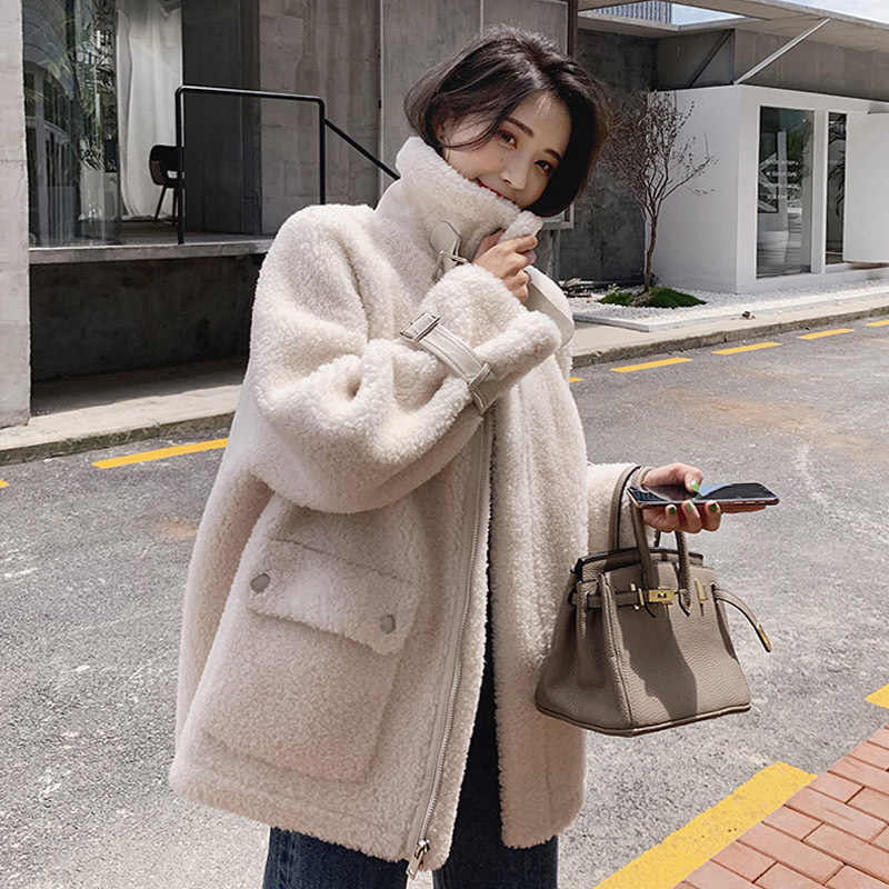 Autumn Winter Coat Women Fluffy Jacket Autumn Zipper Plush Thick Casual Plus Size Lamb Winter Faux Fur Coat Female Overcoat 8213