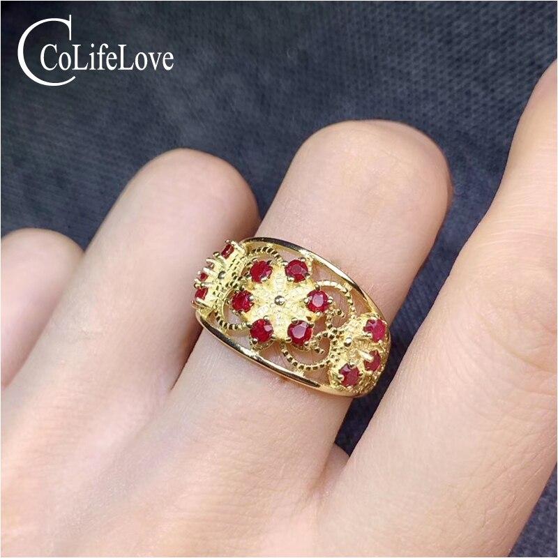 CoLife bijoux 925 argent rubis bague 12 pièces naturel rubis pierre gemme bague Vintage argent rubis bijoux cadeau d'anniversaire pour femme