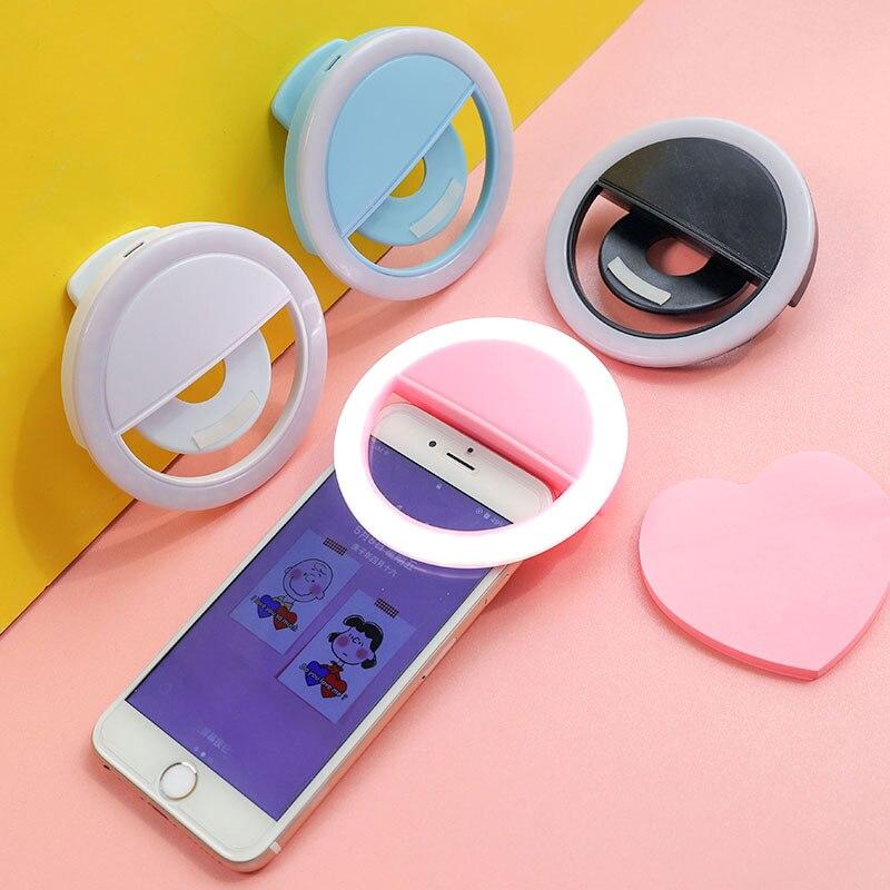 Selfie Led Ring Light for Mobile Phone Fill Light Dimmable Rechargeable Fleshlight Lighting Lamp Photo Rechargeable Battery