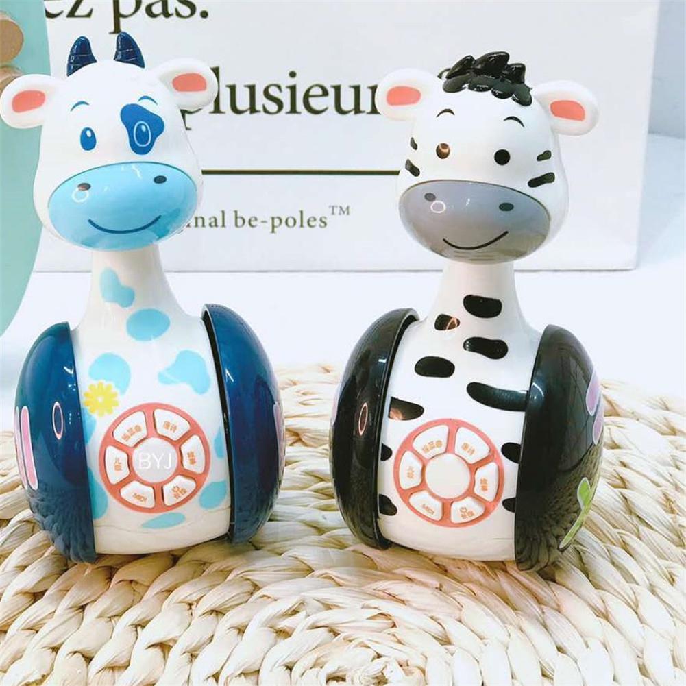 Kuulee Cartoon Cow Zebra Tumbler Igrushki Doll Baby Toys Cute Rattles Story Reading Newborns 3-12 Month Early Toy