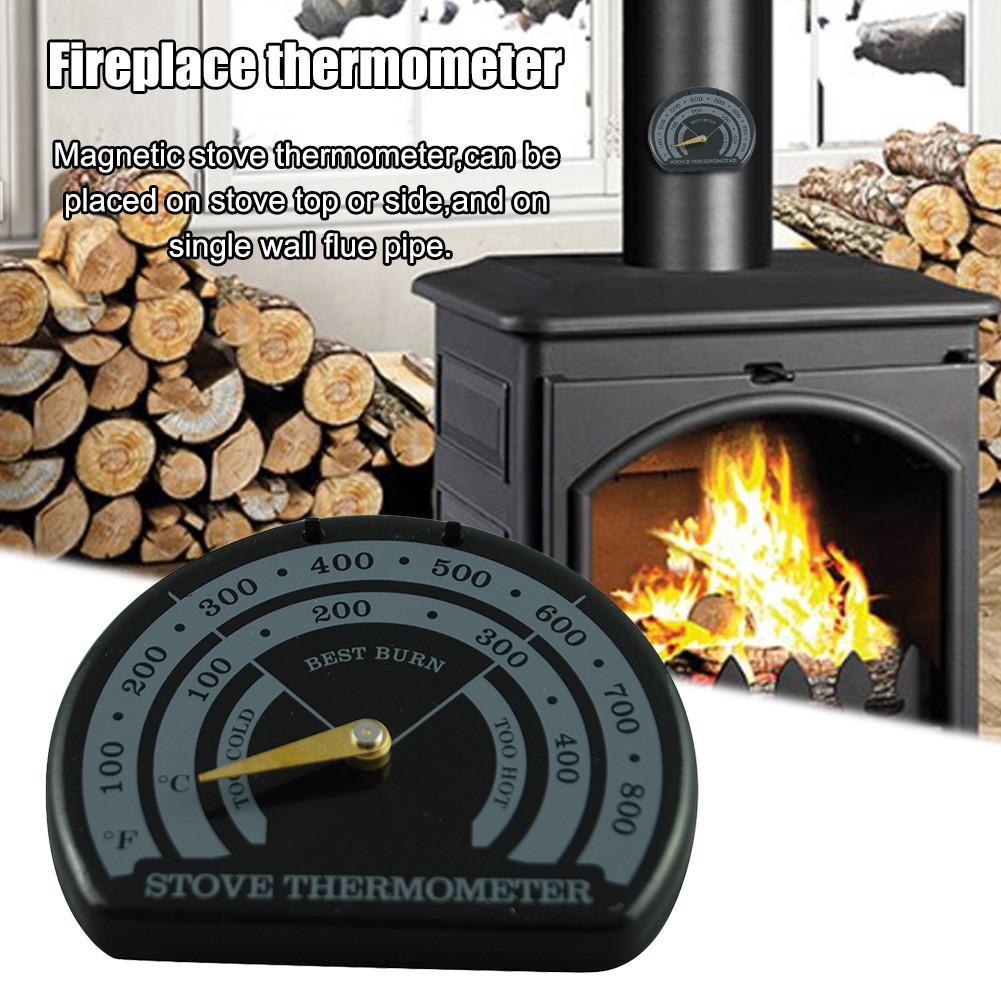 Magnetic Wooden Stove Thermometer Fireplace Stove Fan Meter Thermometer With Sensitivity Probe Household Oven Barbecue Tools