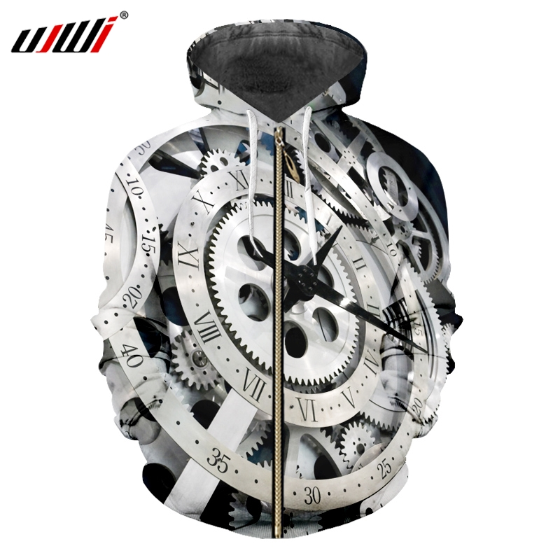 UJWI Autumn Winter Gear Watch Machinery  Zip Up Hoodie Jacket 3D Print Hoodies Sweatshirts Zipper Hooded Jacket Clothing