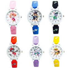 цена на Paw Patrol cartoon character action watch toy children electronic waterproof watch leather strap boy girl quartz watch gift