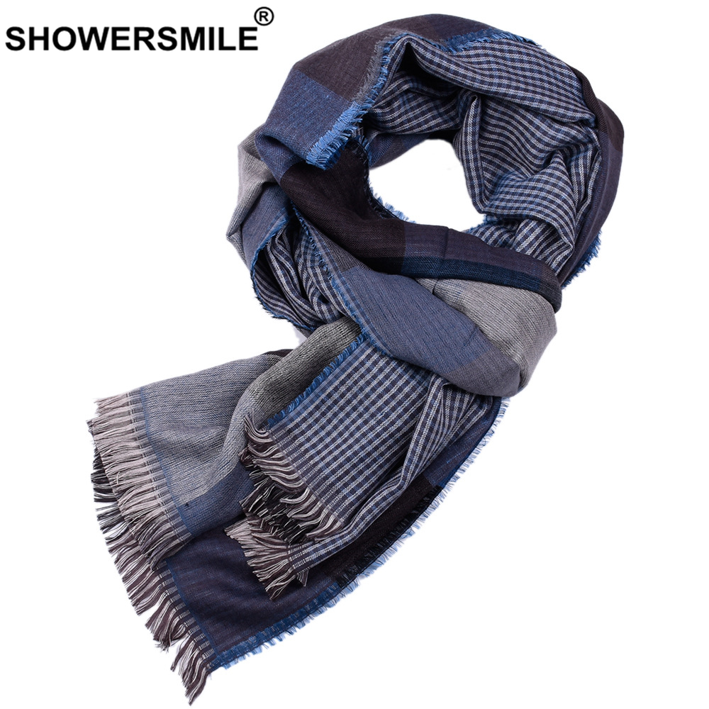 SHOWERSMILE Blue Plaid Men Scarf Double-Sided British Style Scarf For Men Warm Mens Scarves Designer Brand Winter Accessories