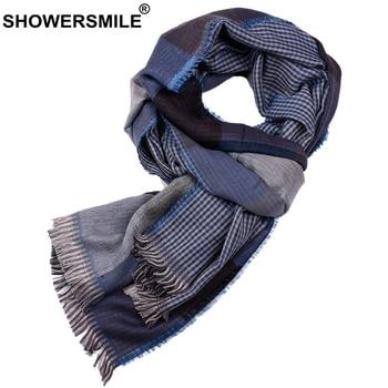 цена на SHOWERSMILE Blue Plaid Men Scarf Double-Sided British Style Scarf for Men Warm Mens Scarves Designer Brand Winter Accessories