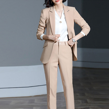 Pant Suits Blazer Jacket Work Office Lady High-Quality Women Autumn Spring Notched