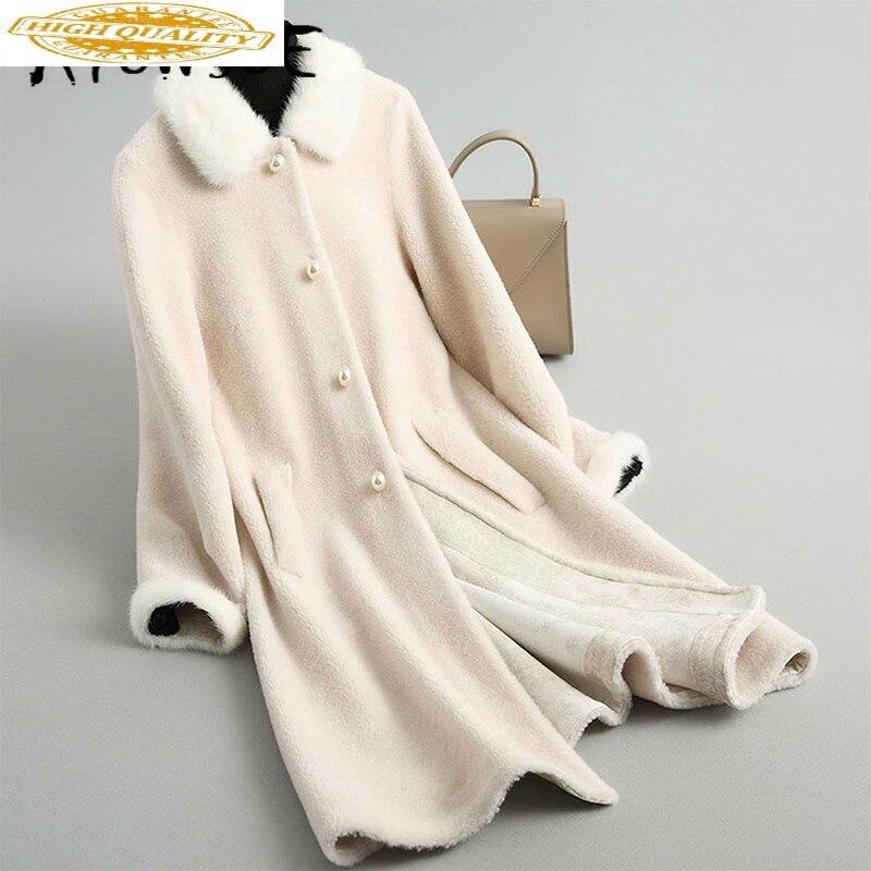 Real Fur Coat Long Sheep Shearing Wool Coat Women Korean Winter Coat Women Mink Fur Collar Abrigo Mujer 868587 YY2005
