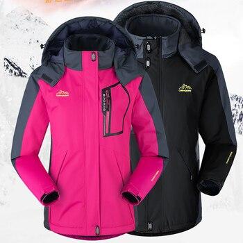 цена Bust 128cm 2020 Men Women Winter Camp Climb Ski Fish Trekking Hike Jackets Hood Windbreak Plus size Coat Oversize M-5XL Fur Warm онлайн в 2017 году