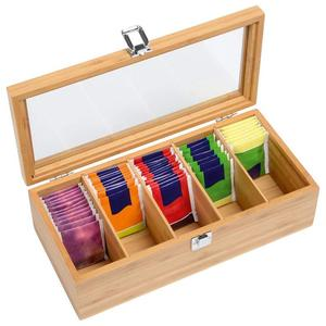 Bamboo System Tea Bag Jewelry Organizer Storage Box 5 Compartments Tea Box Organizer Wood Sugar Packet Container(China)