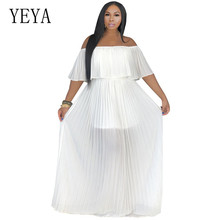 YEYA Women Summer Beach Chiffon Big Hem Off Shoulder Maxi Pleated Dress Elegant White Blue Bohomian Holiday Long Dresses