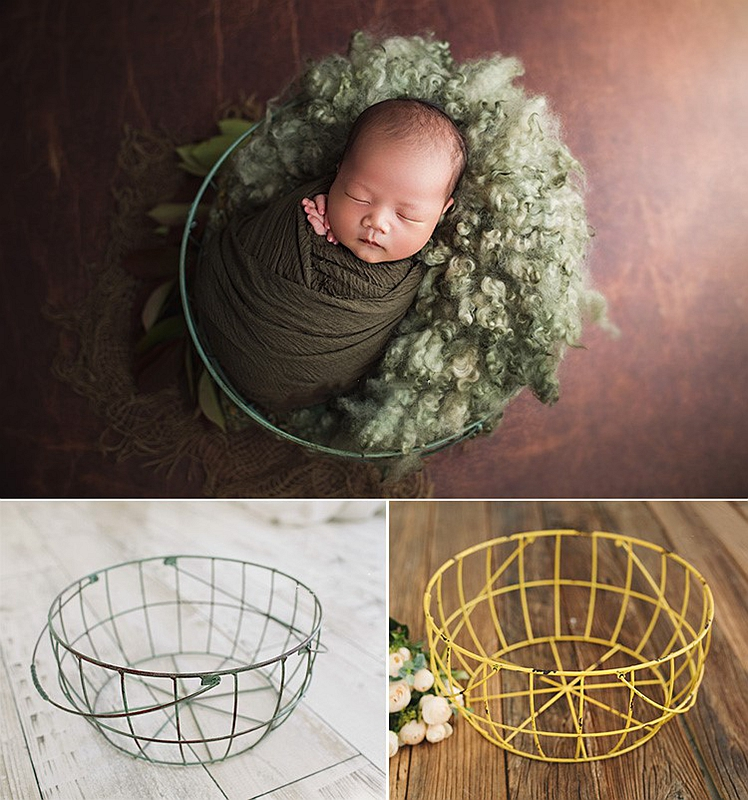 Colorful Wire Basket Vintage Container Do Old Baby Original Photo Prop Newborn Photography Peops Posing Accessories