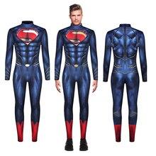 Superhero Superman Kal-El Clark Kent Jumpsuit Cosplay Costume Bodysuit Zentai Suit Halloween