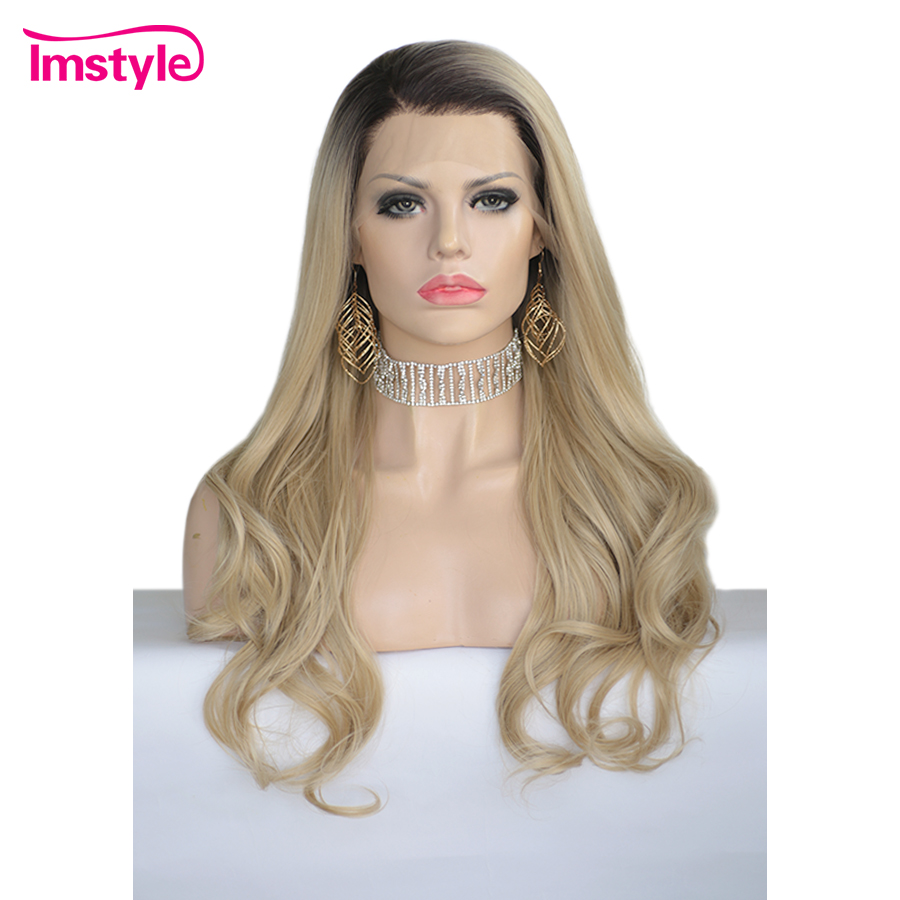 Imstyle Blonde Lace Front Wigs For Women Natural Wavy Synthetic Lace Front Wig Dark Root Heat Resistant Fiber Daily Wigs 24''