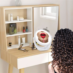 Image 5 - Maquiagem espelho tela sensível ao toque 1x 5x lupa led espelho 360 graus de rotação ajustável dupla face espelhos cosméticos tabela 45