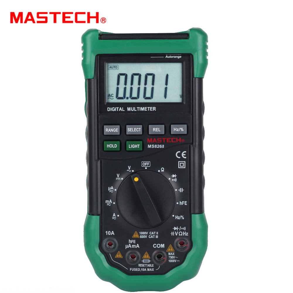 <font><b>MASTECH</b></font> <font><b>MS8268</b></font> Auto Range Digital Multimeter AC/DC Voltage Tester ohm Frequency Capacitance Meter diode test image