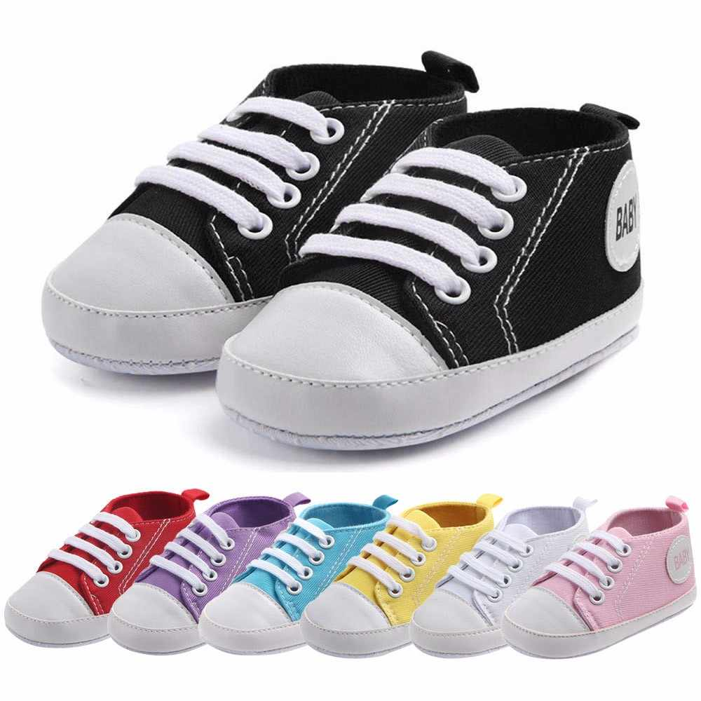 Newborn Leisure flat Shoes Infant Baby Boys Girls Solid Canvas Anti-slip Soft Shoes Sneaker Toddler Rubber sole canvas shoes