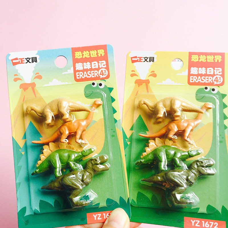 48pcs/12sets Kawaii Kids Erasers Creative Dinosaur Rubber Eraser For Kids Prizes Cute Korean Stationery School Things Wholesale