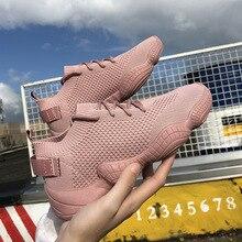 Sapatos femininos de luxo moda casual tênis plataforma plana elástico tecido estiramento senhoras sapatos 2020 nova malha rendas up alta qualidade