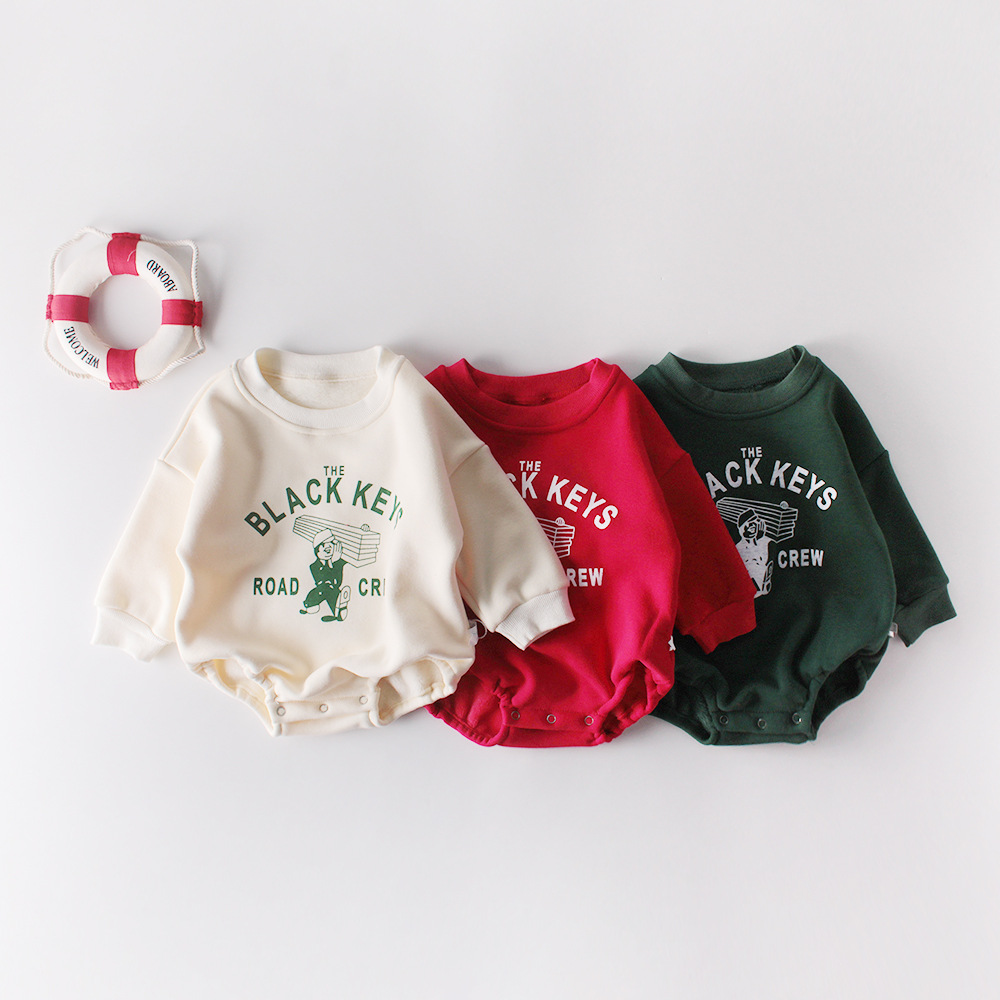 MILANCEL Baby Outfit Long Sleeve Baby Boys Bodysuits Baby Cartoon Girls Jumpsuits Thicken Lining Baby Clothes