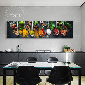 Embelish 1 piezas Venta caliente cocina moderna decoración de pared carteles pimientos granos especias HD lienzo impreso pinturas cuadros para el hogar