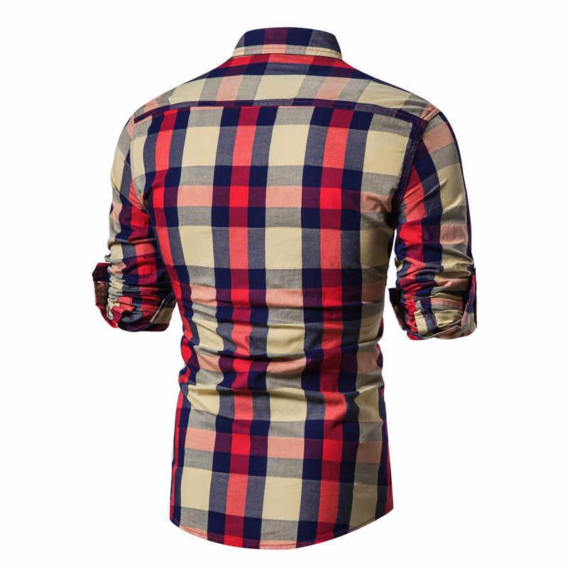 2020 春の新作ファッション 100% 綿の格子縞のシャツ男性カジュアル主義ビジネス男性シャツ最高品質の長袖メンズドレスシャツ