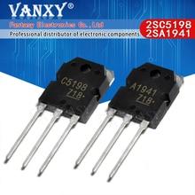 10PCS 5 pares 2SC5198 2SA1941 TO3P (5PCS A1941 + 5PCS C5198) TO 3P Transistor autêntico e original