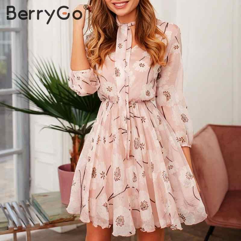 BerryGo Vintage çiçek baskı boho elbise kadınlar Casual uzun kollu bahar chic parti elbise yüksek bel iş elbisesi ofis bayan elbise
