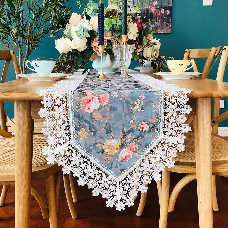 Proud Rose Lace Printed Table Runner Pastoral Table Cover Towel TV Cabinet Table Flag Cover Towel Wedding Decoration