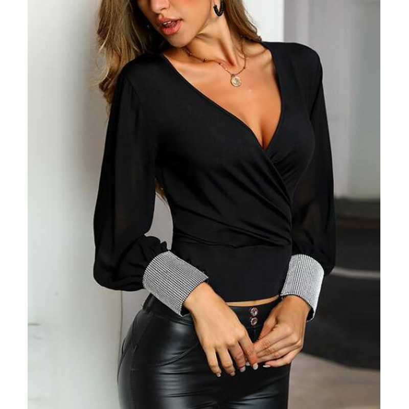 Women Mesh Glitter Cuff Wrap <font><b>Blouse</b></font> & Shirt Office Lady <font><b>Sexy</b></font> Long Sleeve <font><b>Deep</b></font> <font><b>V</b></font>-Neck Black Ruched Shirts image