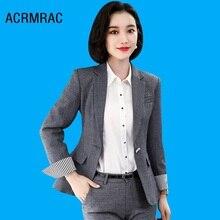 Women suits Slim autumn winter Solid color jacket Pants 2-piece set