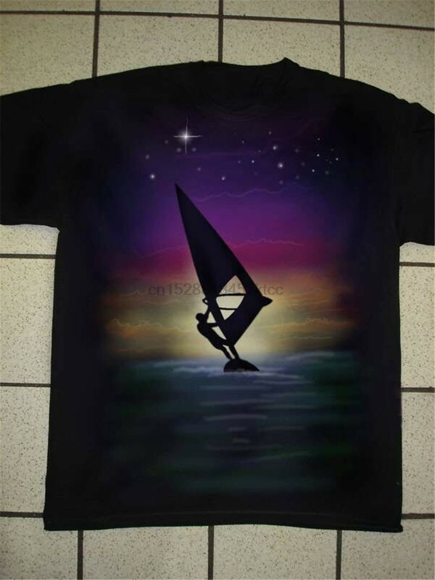 Airbrushed Windsurfer Windsurfing T-Shirt in sizes Small To 3XXXL