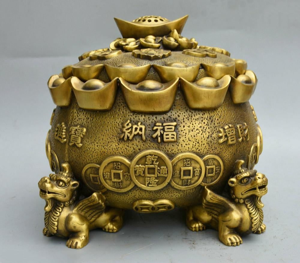 Wedding Decoration China Pure Copper Bronze Wealth YuanBao PiXiu Beast Statue Incense Burner Censer