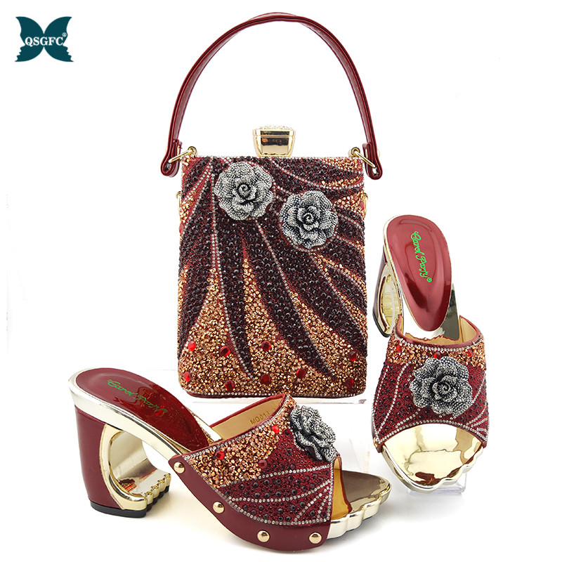 New Italian Design African Women Matching Shoes and Bag Set Nigerian Style in Wine Color African Ladies Wedding Shoes and Bag