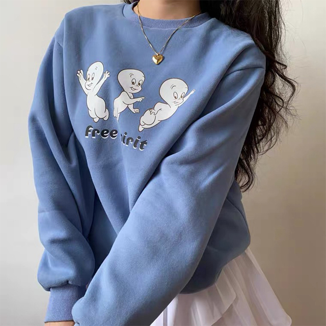 Free Cartoon Print Female Cute Pullover  Thick hoodie Warm Long Sleeve Tops Plus Size Loose Haze Blue sweatshirt women 1