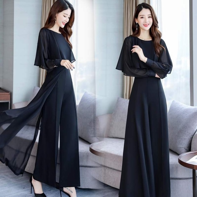 Chiffon Pantsuits Women Pant Suits For Mother Of The Bride Outfit 2019 Formal Wedding Guest Black Wide Leg Loose Two Piece Set