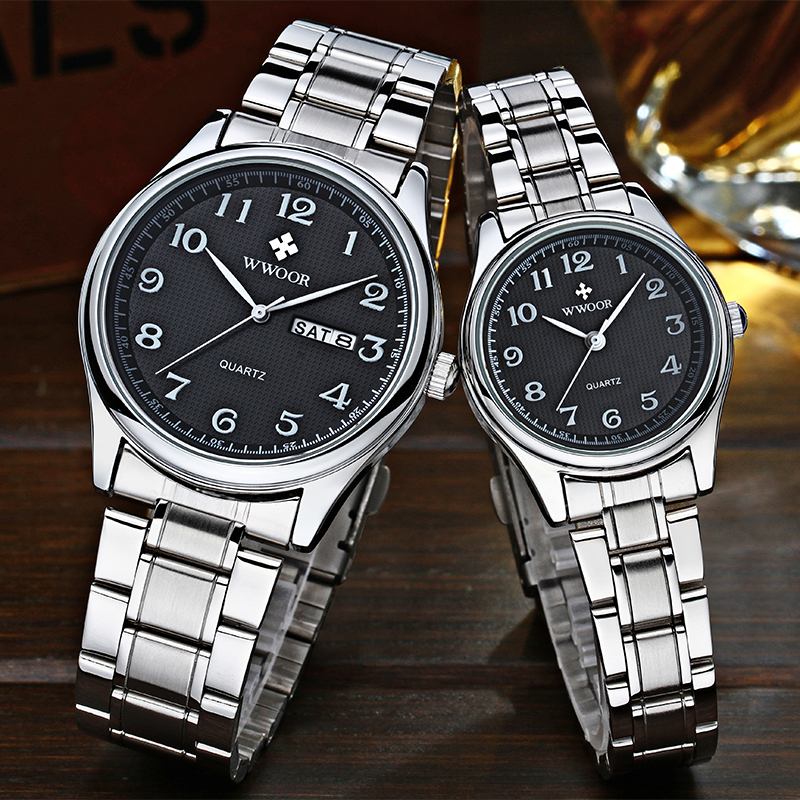 WWOOR Hot Fashion Lovers Watches Men Women Business Waterproof Clock Silver Steel Mens Watches Casual Ladies Quartz Wristwatch
