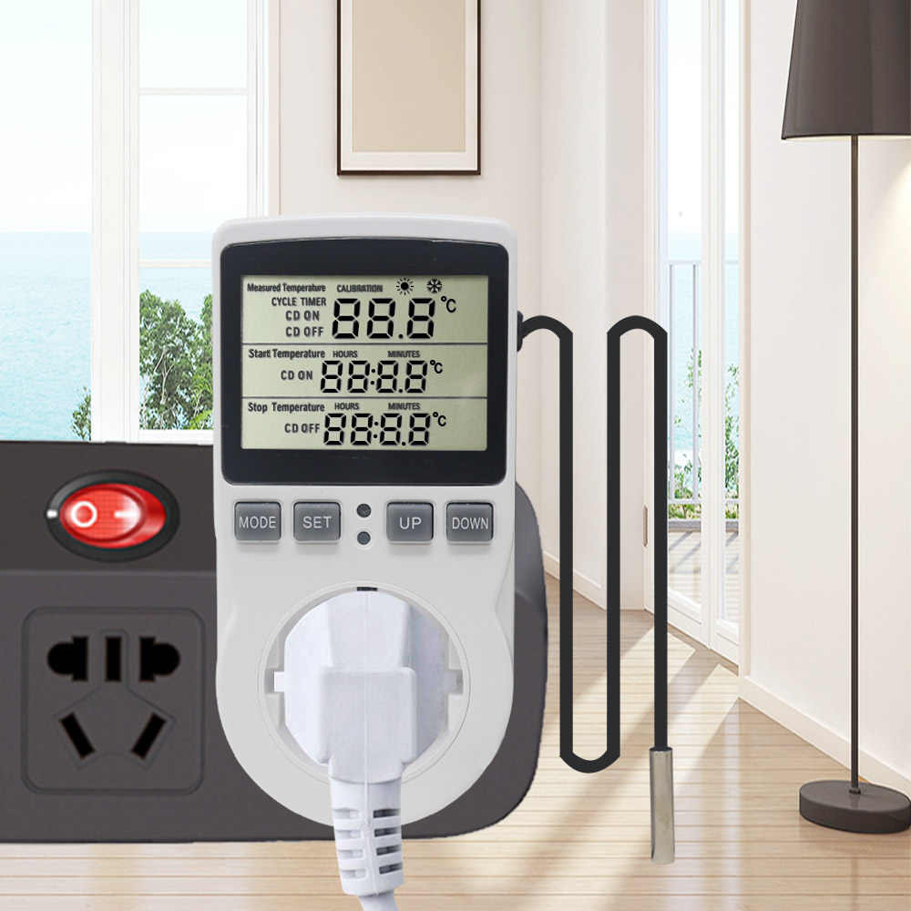Multi-Function Thermostat อุณหภูมิ Controller SOCKET Outlet Timer Switch SENSOR Probe เครื่องทำความร้อน 16A 220V
