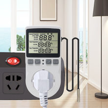 Multi-Fungsi Thermostat Digital Temperature Controller Soket Outlet dengan Timer Switch Sensor Probe Pendingin Pemanasan 16A 220V(China)