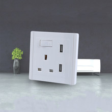 White USB Wall Socket AC 110-250V UK Wall Socket 2 Port USB Outlet Power Charger for iphone Samsung HTC(China)