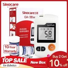 Sinocare GA 3 غلوكومتر مرض السكري جهاز قياس السكر بالدم وشرائط الاختبار والسنون Glm الطبية السكر في الدم متر اختبار مرض السكري