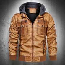 Jacket Coat Faux-Pu-Leather Winter Autumn Zipper Outwear Hooded M-4XL Plus-Size Men Fashion