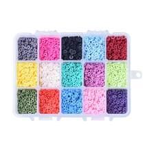 1 коробка, 15 цветов, 4 мм, экологичные полимерные глиняные бусины ручной работы, диск/плоские круглые шарики Heishi для женщин, ожерелье, ювелирн...