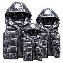 Winter Parent-Child Matching Outfits Shiny Child Waistcoat Cotton Girls Boys Vest Kids Jackets Children Outerwear For 100-185cm