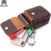MISFITS crazy horse genuine leather men fanny pack fashion small waist bag top quality hip belt packs brand cell phone